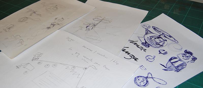 Primeros bocetos e ilustraciones